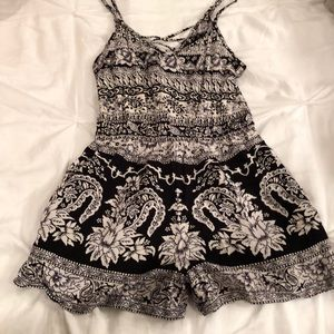 Black and White patterned Romper
